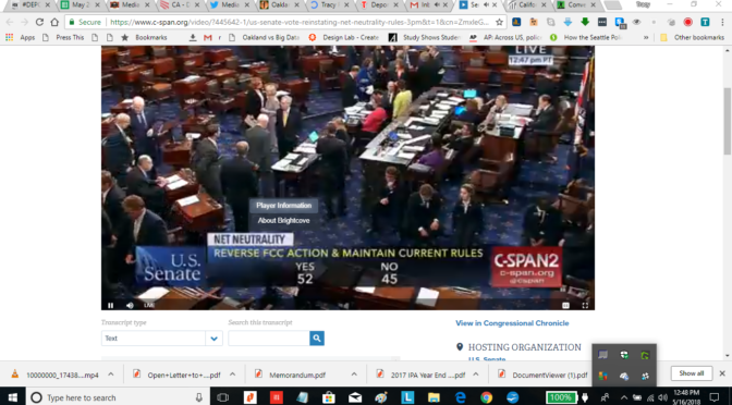 US Senate Passes Repeal of Net Neutrality Repeal  52 Yes Votes